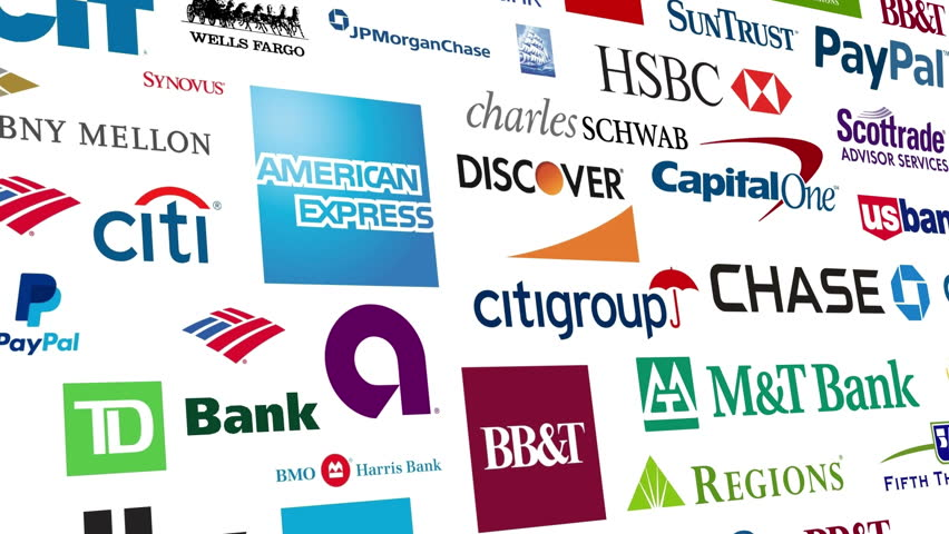 Editorial animation: Loopable animation of a large compilation of major US banking and financial institutions.