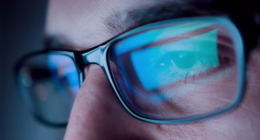 Young Man Chatting Browsing Late Night Close Up Internet Addiction Facebook Twitter Wi-Fi Connection Concentration Reading Display Glasses Reflection Uhd 4K | Shutterstock HD Video #9483647