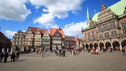 BREMEN, GERMANY - APR 5: Historic center in the old town of Bremen. April 5, 2015 in Bremen, Germany. The old town is part of the German landmark fairy tale route and is a UNESCO world heritage.