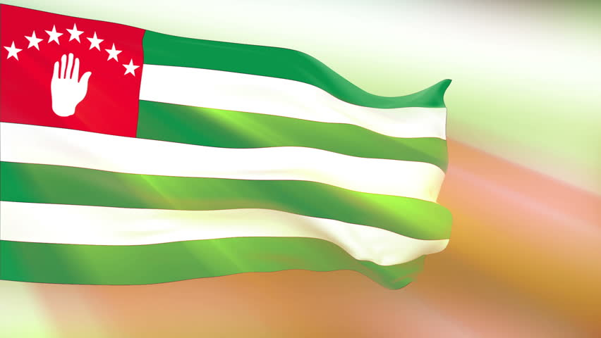 Abkhazia Flag slowly waving in the wind. Silk material. Glowing. Seamless, 8 seconds long loop.