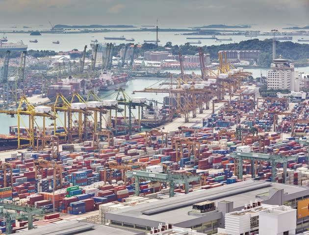 Harbor Freight Gantry Crane >> SINGAPORE - DECEMBER 07: The Port Of Singapore On December 07, 2013 In Singapore. It's The World ...