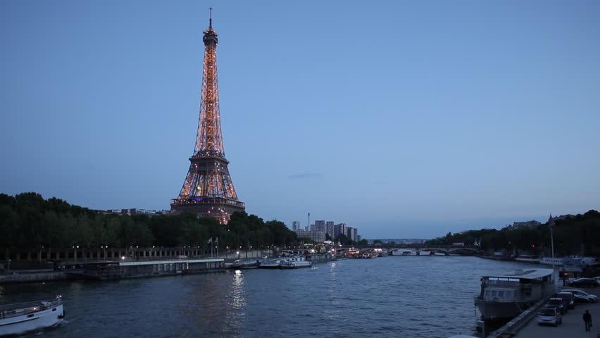 Eiffel Tower and River Seine at Dusk, Paris, France, Europe - June 2014 | Shutterstock HD Video #9543212