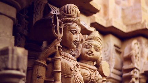 Sandstone sculptures of a Jain temple in Jaisalmer, Rajasthan, India. Tilt shot with shallow depth-of-field.