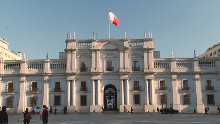 SANTIAGO, CHILE - OCTOBER 17, 2013: Exterior of the La Moneda Presidential palace on October 17, 2013 in Santiago, Chile.