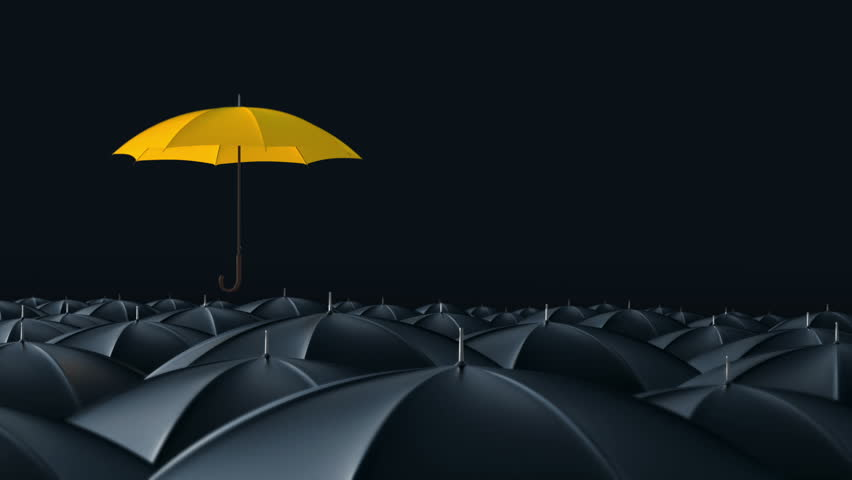 Yellow umbrella open and standing out from crowd mass black umbrellas, design background text concept, up point