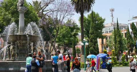 MEXICO - PUEBLA - CIRCA APRIL 2015 - The Zocalo de Puebla (Town Square). The town was founded by the Spanish in 1531 to service the trade route between Mexico City and the port of Veracruz.