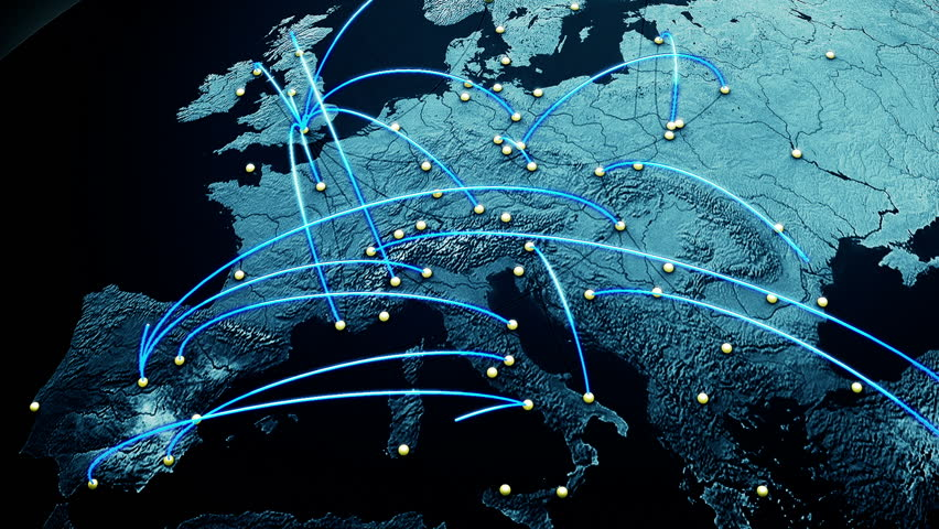 Network Connections over Europe 3D Animation illustrating business connections, e-commerce relations, flight routes connecting the cities of Europe 3 mattes included for further modifications in post
