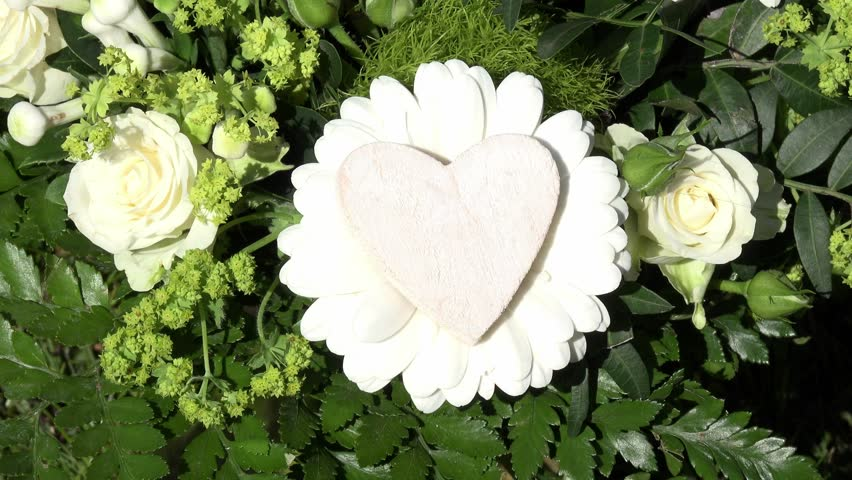White heart with white roses | Shutterstock HD Video #9651023
