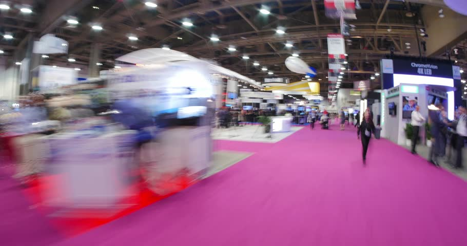 LAS VEGAS, NV - April 15: NAB Show 2015 exhibition in Las Vegas Convention Center. NAB Show is an annual trade show produced by the National Association of Broadcasters. April 13-16. Hyperlapse view.