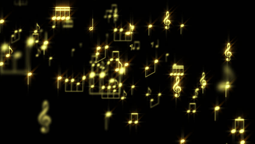 Gold Music Notes Particles World with alpha channel