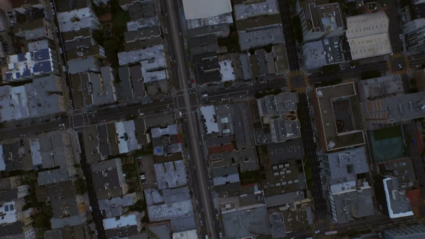 San Francisco Aerial v70 Low flying vertical shot looking down over Nob Hill area at sunrise. | Shutterstock HD Video #9661637