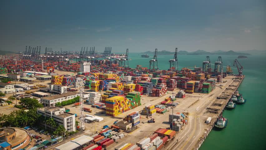SHENZHEN,CHINA - DECEMBER 2014: sunny day shenzhen city famous bay port panorama 4k time lapse china   Shutterstock HD Video #9694367