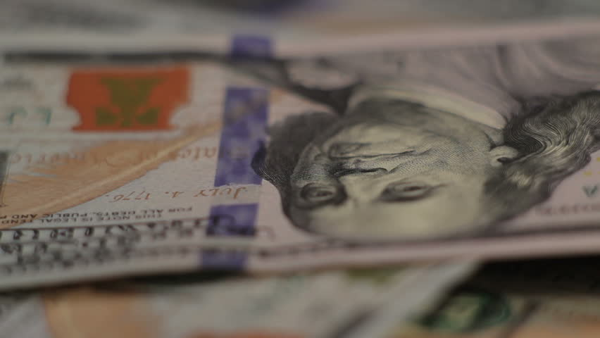 Money Dollars rotate on the table. close-up   Shutterstock HD Video #9700097