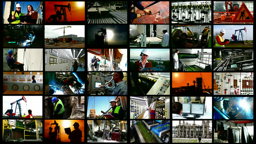 Zrenjanin;Serbia.4/5/2015;Various types of industrial production, construction sites, workers of different professions,filmed in the period from 2013 to 2015.Video clips editing in a split screen. | Shutterstock HD Video #9713195