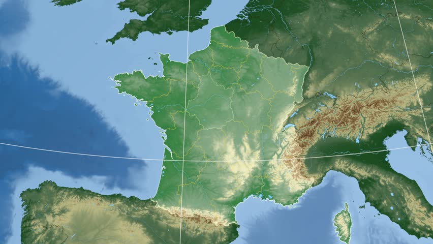 Centre region extruded on the physical map of France. Rivers and lakes shapes added. Colored elevation data used. Elements of this image furnished by NASA.