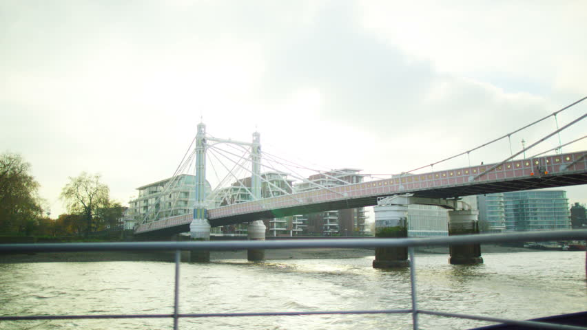 4K The Albert Bridge at Chelsea Harbour, viewed from a boat on the River Thames #9744497