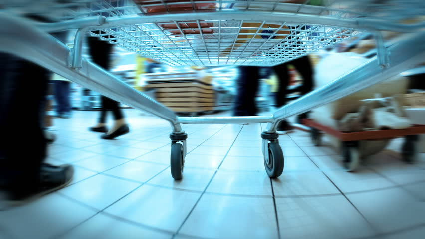 HD 4K (3840X2160) UHDTV:accelerated video of a trolley,rolling around the market | Shutterstock HD Video #9745040