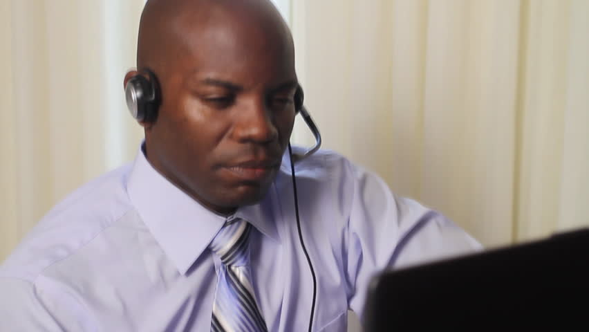 African american customer service worker