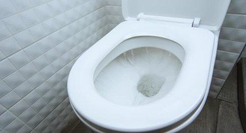 Flushing Toilet Close Up Hygiene Wc Bathroom Clean Water Sewage Washroom Concept Waste Management