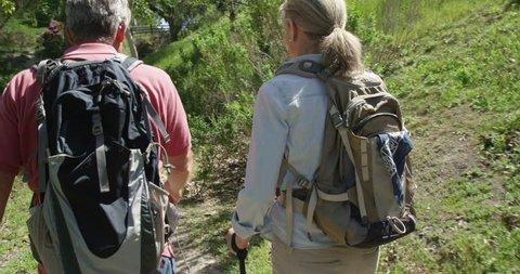 Active senior couple trekking on trail