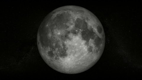 Full moon with a starfield as background, rotates 360 degrees over time (60 sec.)