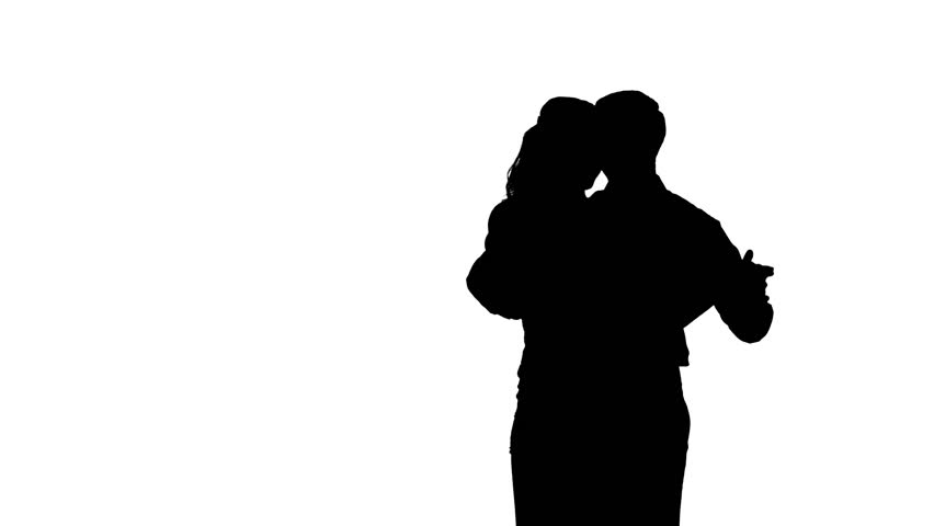 Isolated Silhouette Of A Couple Slow Dancing Stock Footage ...