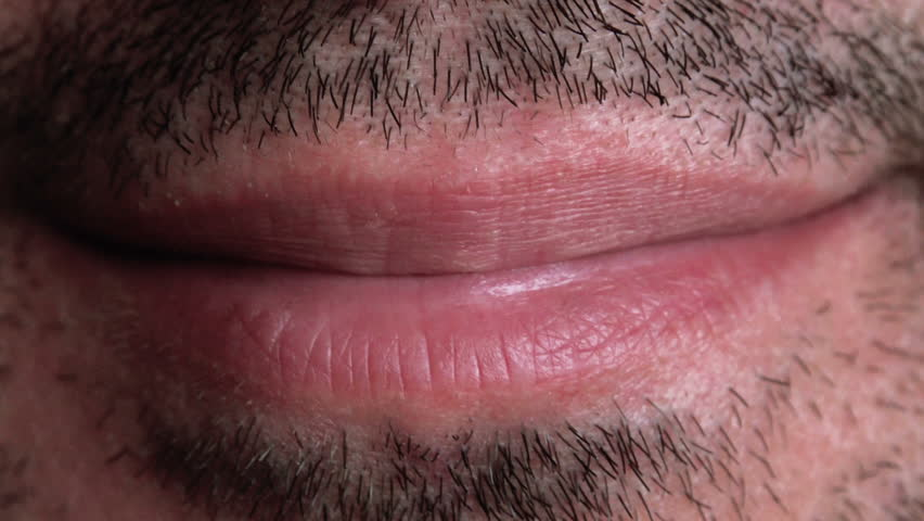 unshaven adult male smiling lips macro close up footage. Black Bedroom Furniture Sets. Home Design Ideas