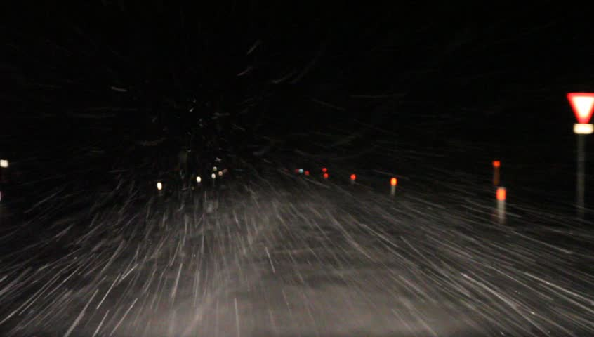 Driving in the snow at night