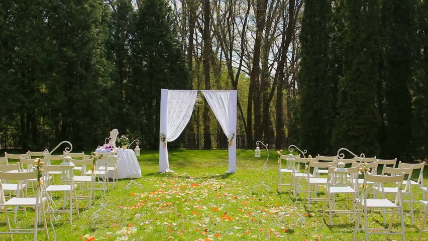 Wedding Set Up In Garden Park Outside Ceremony Celebration Aisle