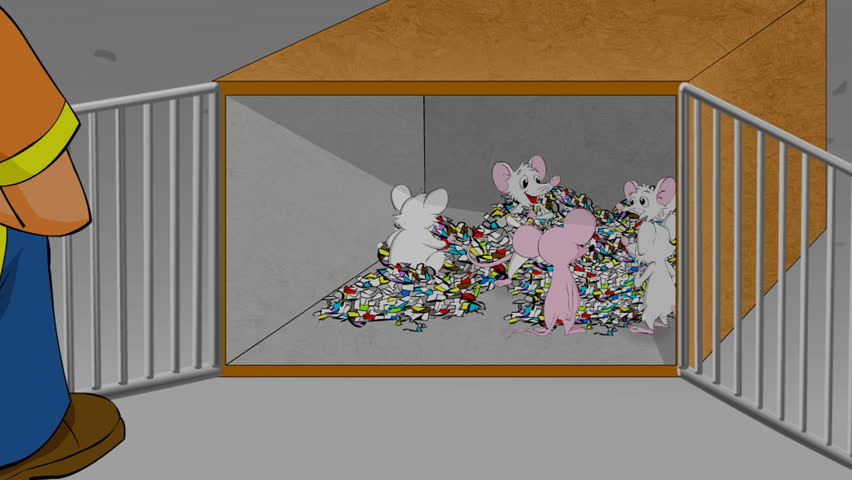 Traditional animation with cute white mice making beds of paper while a pink mouses watches.  Mummy mouse talks to a boy.