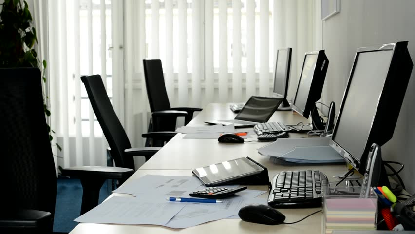 Empty Office Computers And Other Equipment Hd Stock Video Clip