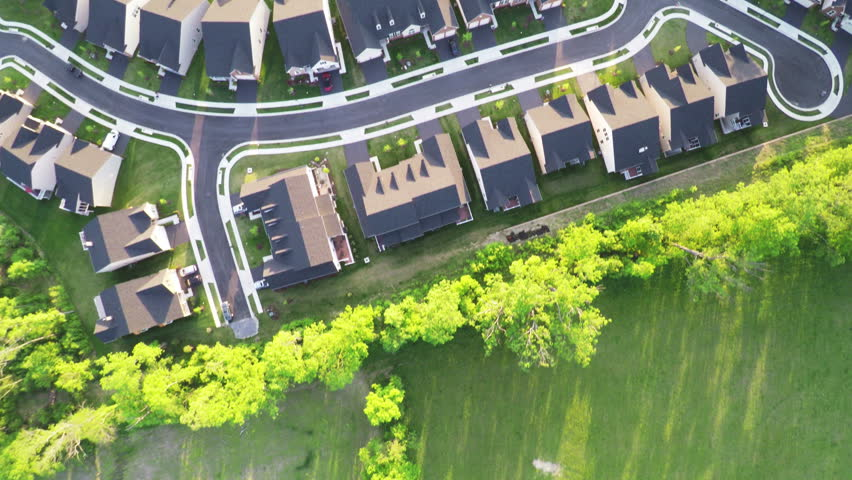 Aerial Above Forest and Neighborhood Trees | Shutterstock HD Video #9965315