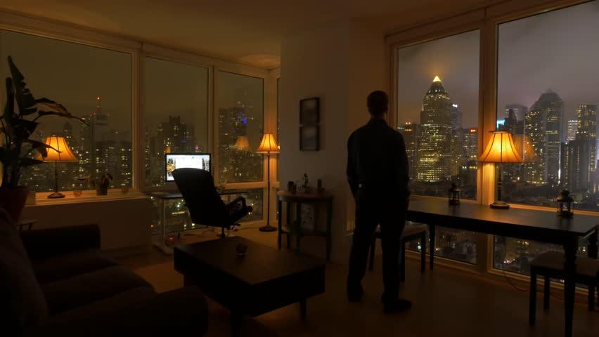 One Person Inside Apartment Loft Home Urban Night Lights