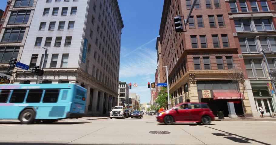 PITTSBURGH, PA - Circa May, 2015 - A daytime establishing shot of Liberty Avenue in downtown Pittsburgh, PA. | Shutterstock HD Video #9993527
