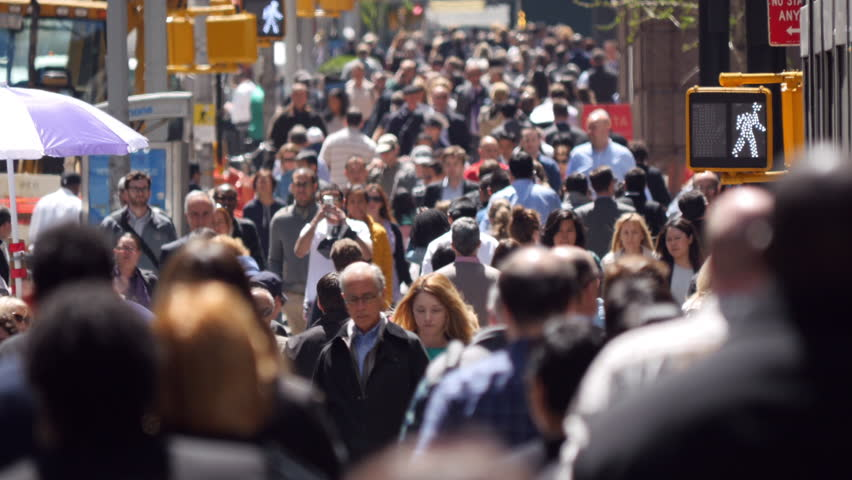 NEW YORK - CIRCA MAY 2015: Crowd of people walking street | Shutterstock HD Video #9993947